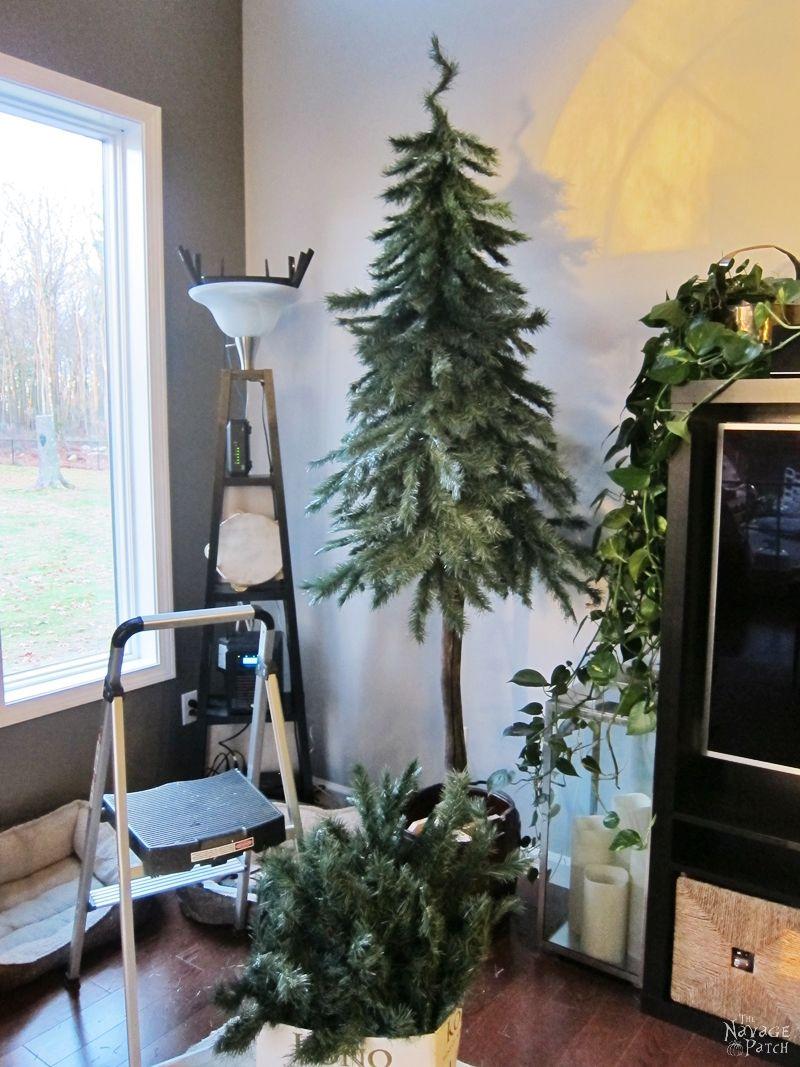 Faux Christmas Tree Repurposed into a DIY Alpine Tree