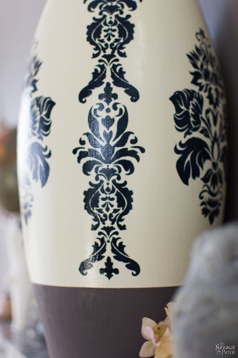 Pottery Barn Inspired Ceramic Vase Makeover | Pottery Barn knockoff | DIY stenciled ceramic vase | Free printable stencil | Free damask stencil | How to stencil ceramic | Homemade chalk paint recipe | How to make chalk paint | Farmhouse style home decor | Easy and budget-friendly crafts | DIY Glazed ceramic vase | Thrift store vase makeover | Before & After | TheNavagePatch.com