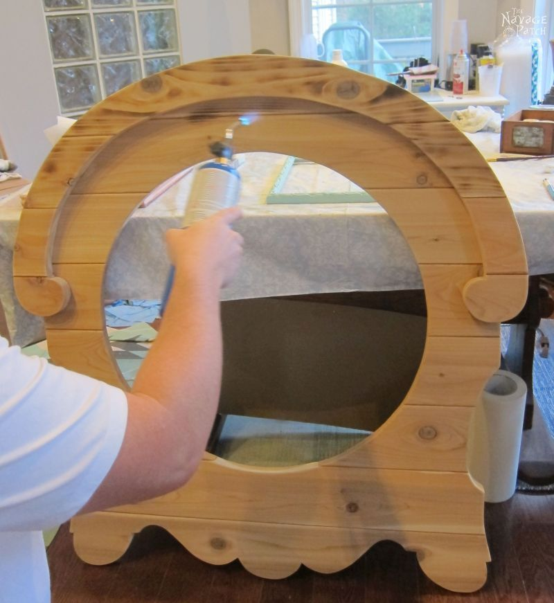 DIY French Country Style Mirror | Upcycled mirror | DIY mirror frame | How to make a french country style frame | How to raise wood grain | How to apply white wax | Farmhouse home decor | DIY wood burning | #TheNavagePatch #Upcycled #diy #frenchcountry #farmhouse #mirror #freeplans #diyfurniture #homedecor | TheNavagePatch.com