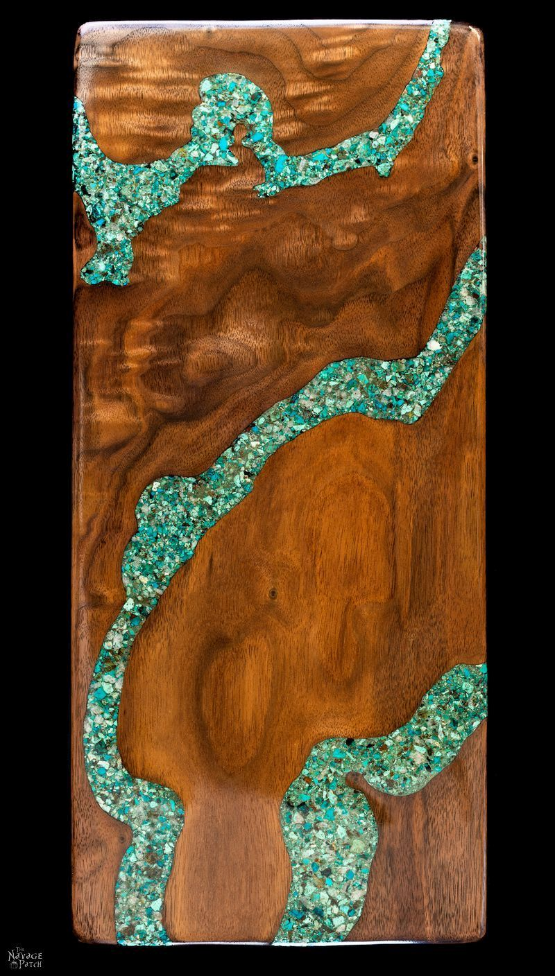 DIY Turquoise Inlay Cheese Board - TheNavagePatch.com