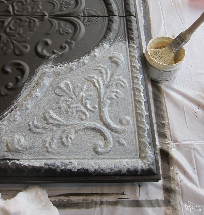 Metal wall decor makeover | Metal tile wall art makeover with homemade chalk paint | DIY chalk paint recipe | How to use white wax | How to use black wax | How to paint metal with homemade chalk paint | Easy and budget-friendly DIY home decor transformation | Before & After | Farmhouse style home decor | Victorian style metal tiles | TheNavagePatch.com