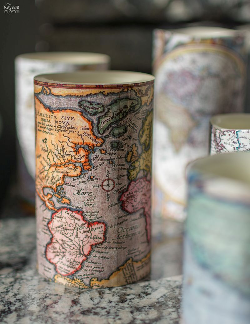 Antique World Map Decoupage Candles | How to decoupage | How to use mod podge | Free printable vintage maps | Free printable decoupage paper | Easy and beautiful DIY gifts | Mod podge video tutorial | #TheNavagePatch #Modpodge #freeprintable #videotutorial #DIYhomedecor #DIY #easydiy #nautical #coastal #vintage #knockoff #maps #upcycled | TheNavagePatch.com
