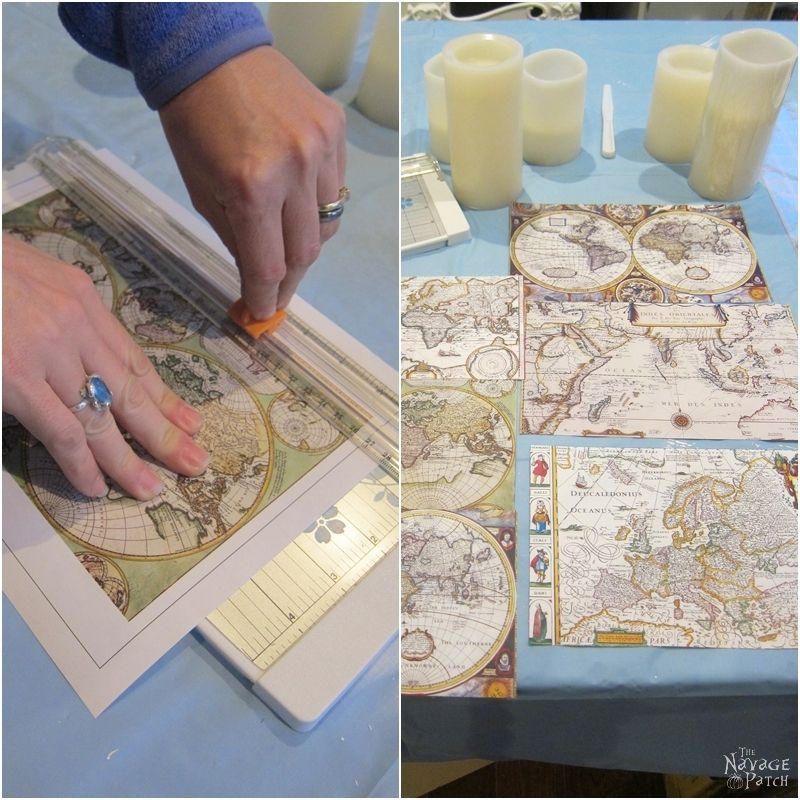 Antique World Map Decoupaged Candles | How to decoupage | Free printable old maps | Free printable decoupage paper | Before & After | DIY nautical home decor | Step-by-step decoupage video tutorial | TheNavagePatch.com