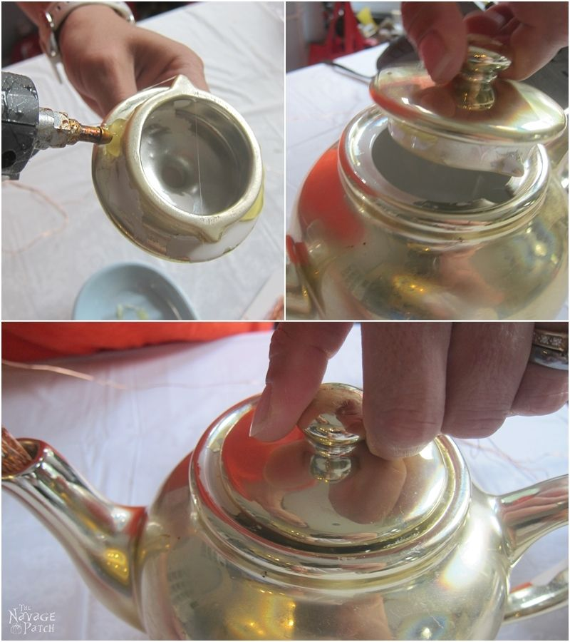 woman hot gluing lid onto teapot
