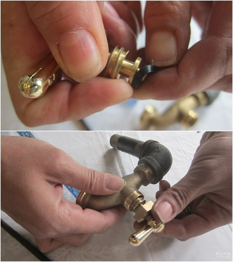 gasket being removed from brass hose bib