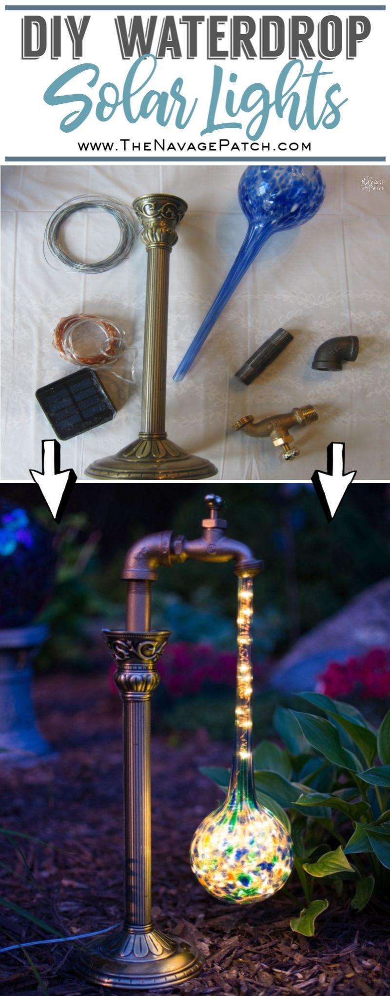 DIY Waterdrop Solar Lights pin image