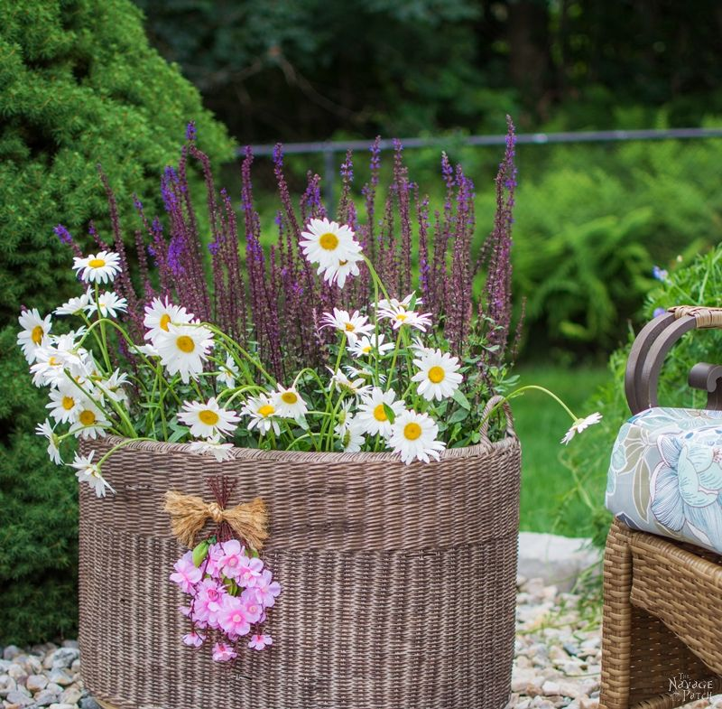 DIY Planter Basket {with casters} | How to add casters to a basket | DIY painted wicker basket planter | Easy and Budget Friendly Home Decor | Upcycled basket | Before & After | TheNavagePatch.com