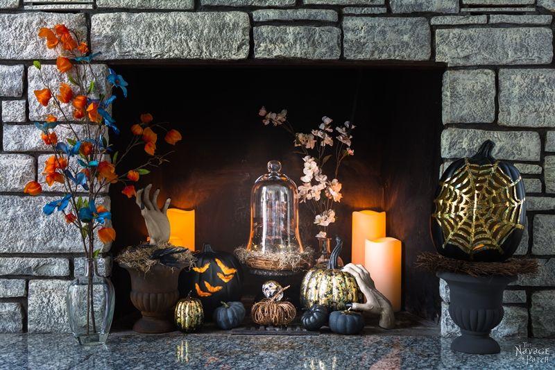 DIY Gilded Pumpkins | No-carve gilded Halloween pumpkins | How to gild | DIY Halloween and fall decoration | Pumpkin carving designs | Gilded Dollar Store pumpkins | DIY crackled copper patina gild pumpkins |#TheNavagePatch #DollarStore #DollarTree #easydiy #Falldecorideas #pumpkin #falldecor #diy #diypumpkin #Halloween #halloweendecor #pumpkineverything | TheNavagePatch.com