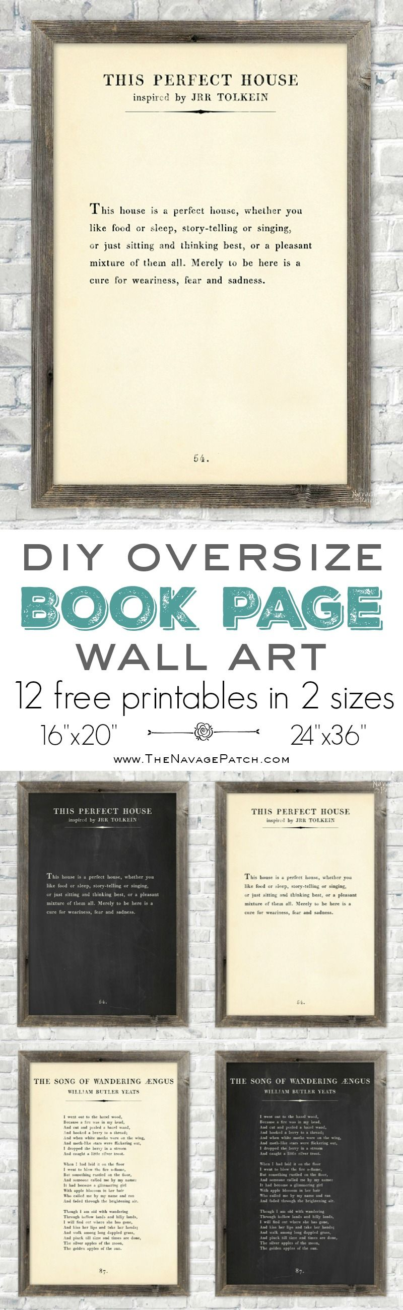 Oversize Book Page Wall Art (12 Free Printables) - TheNavagePatch.com