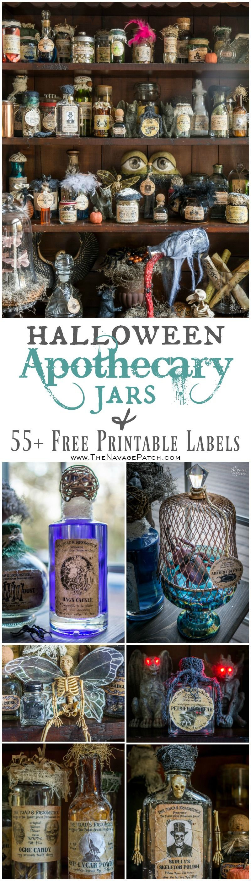 Halloween Apothecary Jars and 55 Free Printable Potion Bottle Labels - TheNavagePatch.com