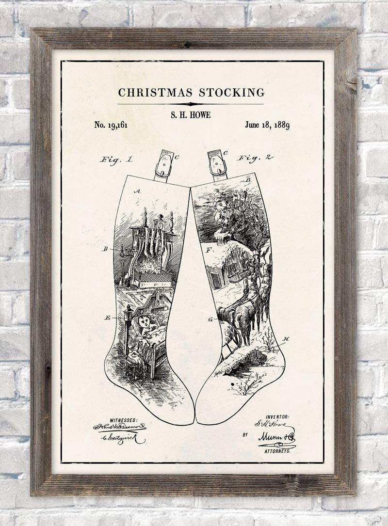 Christmas stocking patent wall art in ivory color paper background
