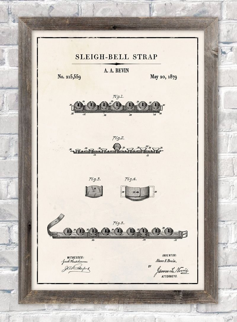 Sleigh bell strap patent wall art in ivory color paper background