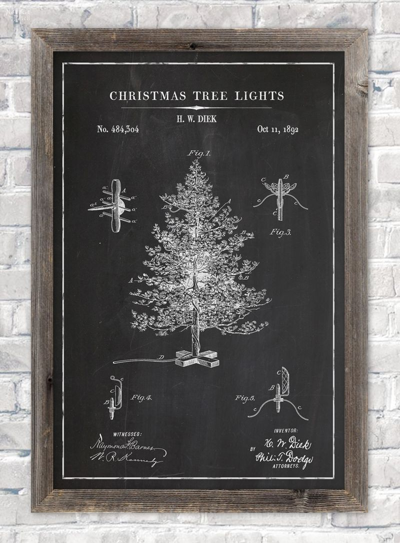 Christmas tree lights patent wall art in chalkboard background