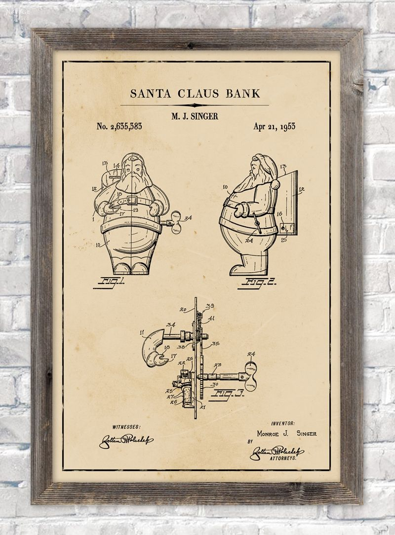 Santa Claus bank patent wall art in aged paper background