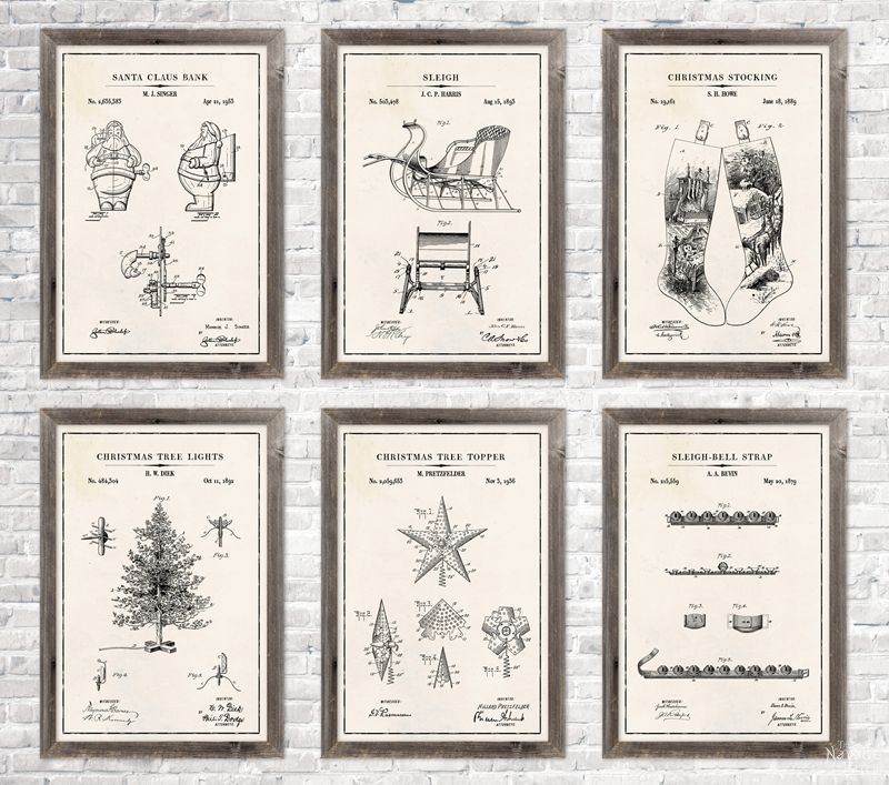 6 Christmas patent wall art in ivory color paper background