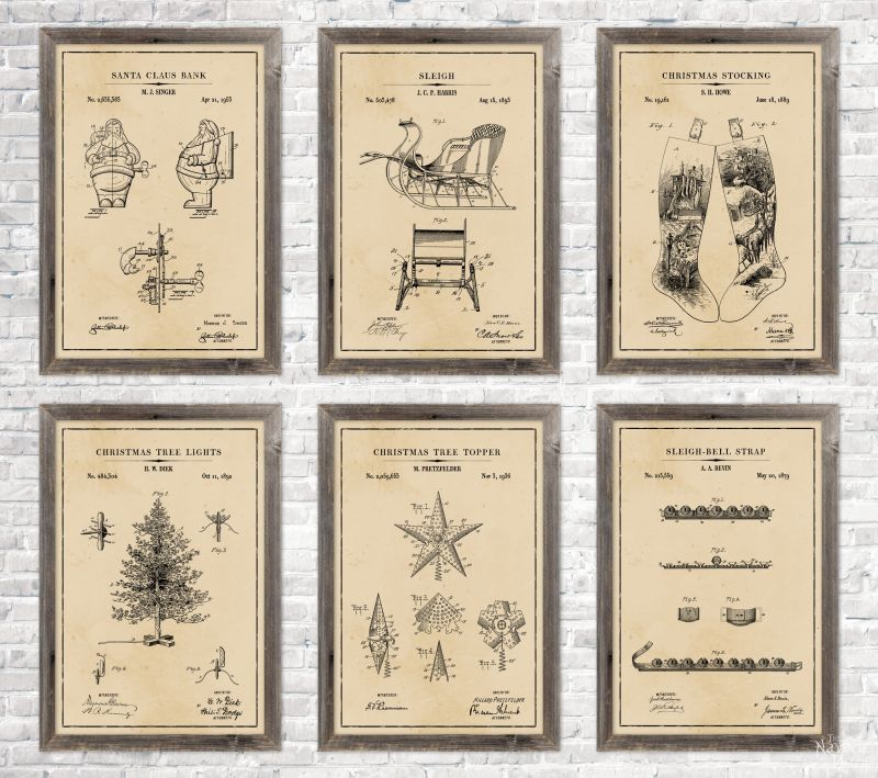 6 Christmas patent wall art in aged paper background