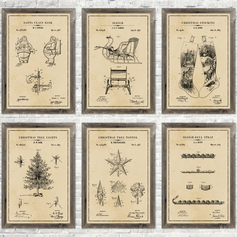 Christmas Patent Wall Art (and 18 free printables) - TheNavagePatch.com