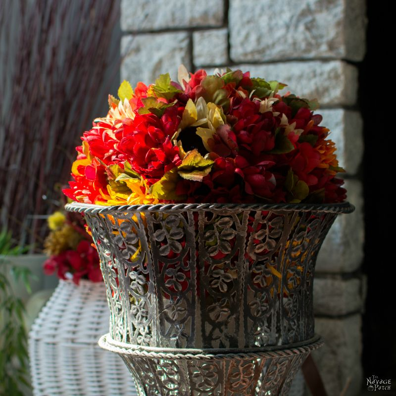 DIY Fall Flower Topiary and Hanging Flower Basket | DIY Basket Makeover | How to make a flower topiary | Upcycled and repurposed old fashioned fishing creel | How to paint a wicker basket | Dollar store crafts | Easy and budget friendly home decor | Before & After | TheNavagePatch.com