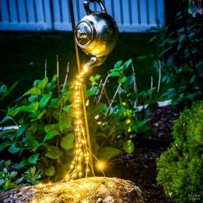 DIY Spilling Solar Lights (Teapot Lights) | Step-by-step tutorial for DIY spilling solar lights (Teapot solar lights) | Upcycled teapot | #TheNavagePatch #DIY #GardenDecor #Upcycled #Repurposed #SolarLights | Easy DIY backyard ornaments and landscape lights | DIY garden lights | TheNavagePatch.com