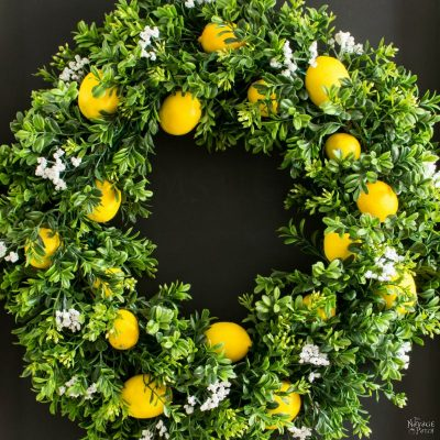 DIY Summer Lemon Wreath | Faux lemon and boxwood wreath with lemon scent | Wreath making tutorial | How to use your wreath as room freshener | How to make a room freshener with essential oils | DIY home decor | #TheNavagePatch #DIY #HomeDecor #Tutorial #Wreath | TheNavagePatch.com