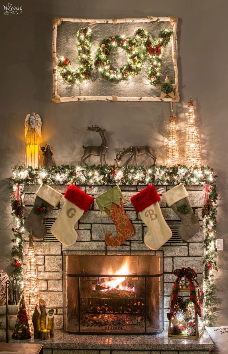 How to Decorate a Narrow Stone Mantel in 5 Minutes | Beautiful and Practical DIY Christmas Mantel Decoration | Easy DIY Holiday Decoration| How to Prepare A Christmas Garland The Easy Way | 5 minute Mantel Decoration | #TheNavagePatch #DIY #easydiy #10minute-DIY #Christmas #ChristmasDecor #Christmascrafts #holidaydecor #garland | TheNavagePatch.com