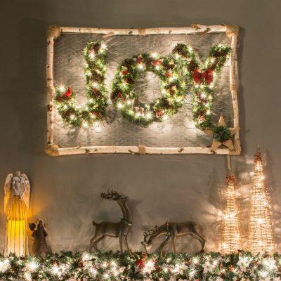 JOY Wreath (Inspired By Ballard Designs)   Ballard Designs knockoff decoration   How to make a monogram wreath   Lighted Christmas Wreath   DIY knockoff holiday decor   Upcycled Christmas decoration   #TheNavagePatch #DIY #Upcycled #Christmas #Christmascrafts #Holidays #Holidaydecor #DIYChristmas   TheNavagePatch.com