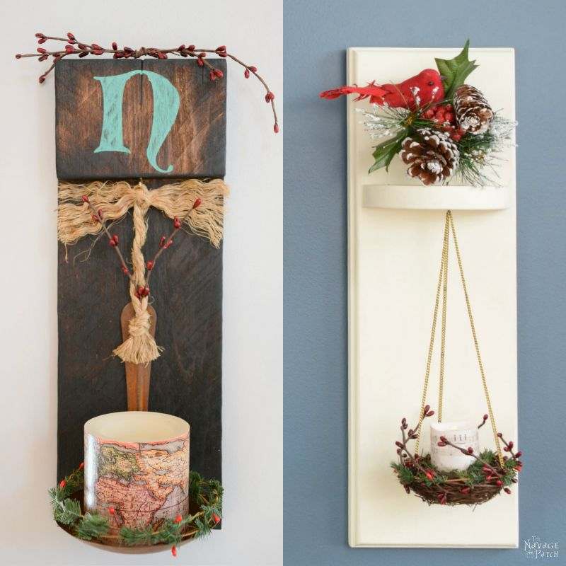 DIY Wall Sconces from Scrap Wood | How to make sconces from a bird nest | How to stencil perfect lines every time | How to prevent paint seeping when stenciling | Farmhouse style candle holders using wood burning technique | How to burn wood | Upcycled bird nest | #TheNavagePatch #DIY #easydiy #upcycled #repurposed #farmhouse #stencil | TheNavagePatch.com