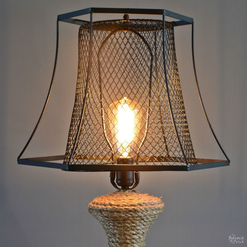 The Old Lamp Revamp | Industrial style DIY lamp makeover using Dollar Store trash can | Coastal style sisal rope wrapped table lamp | Edison bulb | Before & After | Indoor lighting | TheNavagePatch.com