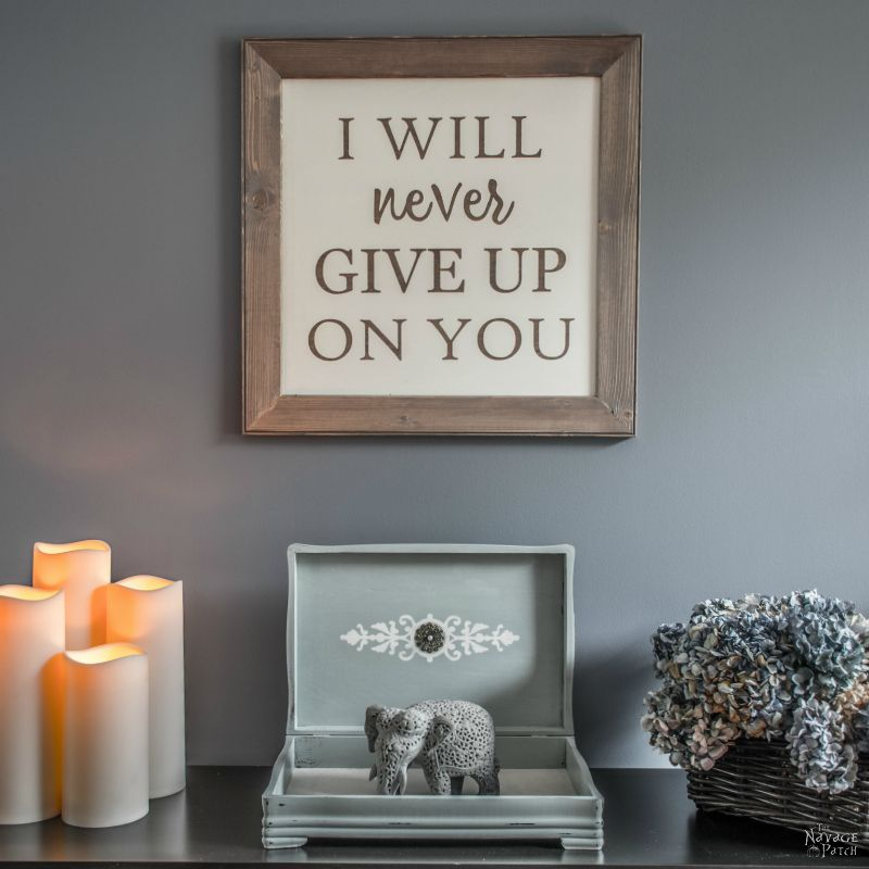 Vows Sign | Diy wedding vows sign tutorial | How to make a sign | Farmhouse style sign making | Homemade chalk paint recipe | Painted and stenciled farmhouse decor | Free printable stencil | Woodworking & diy | TheNavagePatch.com