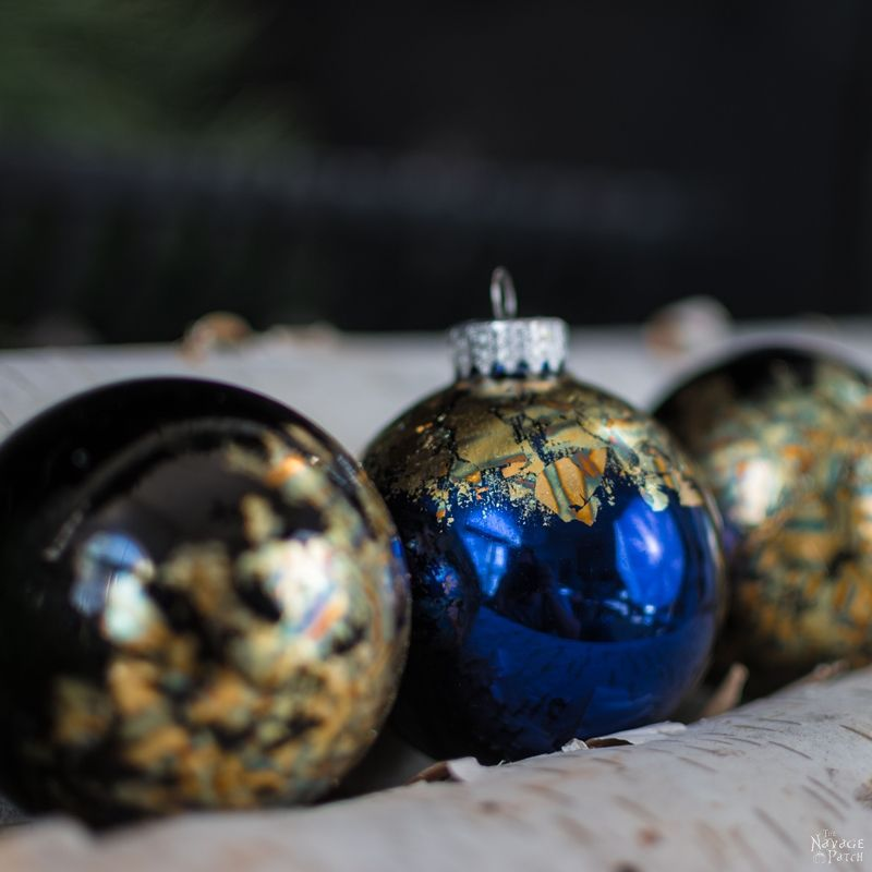DIY Gilded Christmas Ornaments   How to apply gold and copper gild   How to use and clean gilding adhesive   10-minute DIY Christmas decorations   How to get crackled copper gild look   #TheNavagePatch #easydiy #DIY #ChristmasDecor #DIYChristmasOrnaments #HandmadeChristmas #Christmascrafts #holidaydecor   TheNavagePatch.com