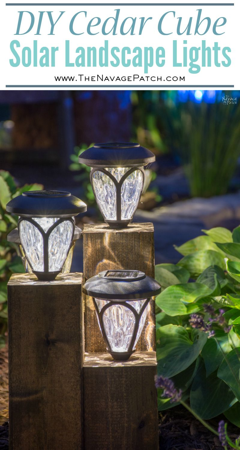 DIY Cedar Cube Solar Landscape Lights | DIY solar outdoor lights | How to clean a solar panel | How to revive solar panels in one easy step | How to make non-working the solar lights work again | #TheNavagePatch #DIY #Garden #SolarLights #CurbAppeal #DIY #FreePlans | Garden and backyard decor | Budget garden and backyard lighting | TheNavagePatch.com