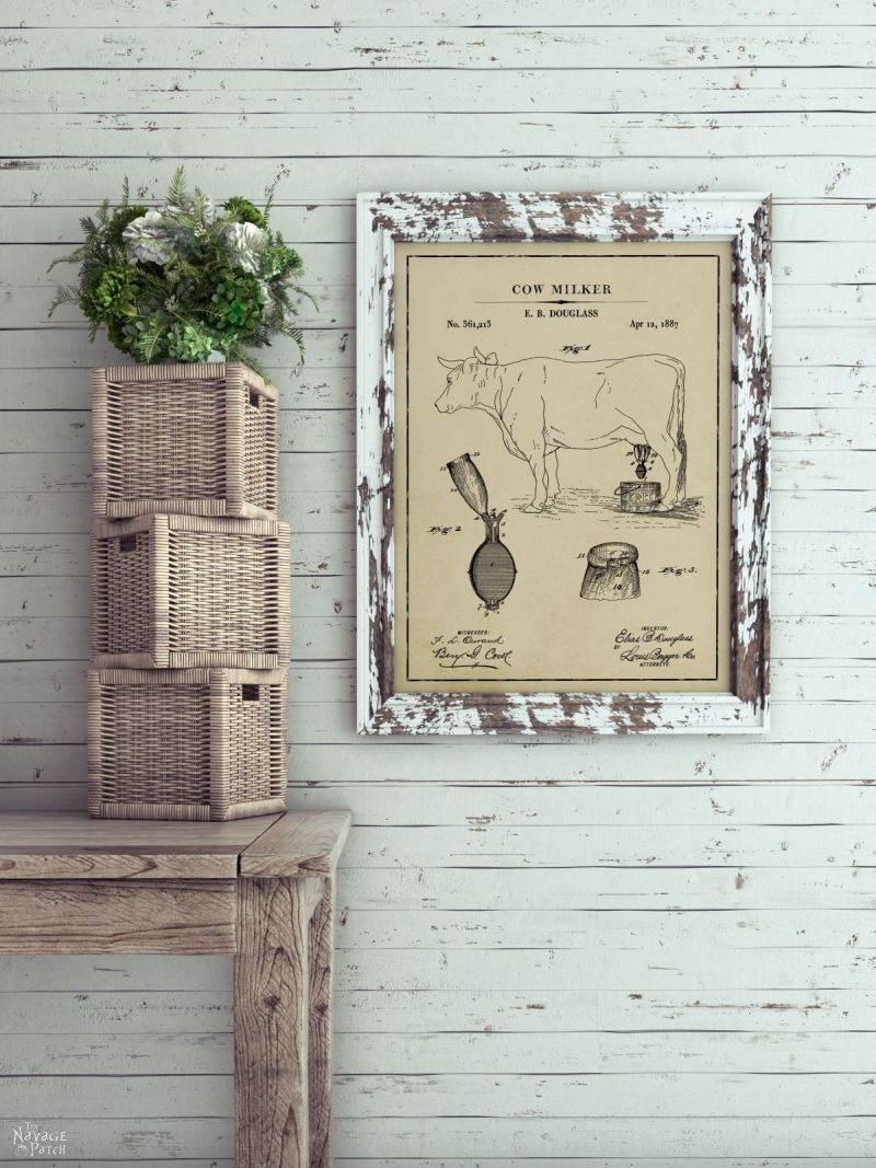 Cow milker patent art in aged paper background