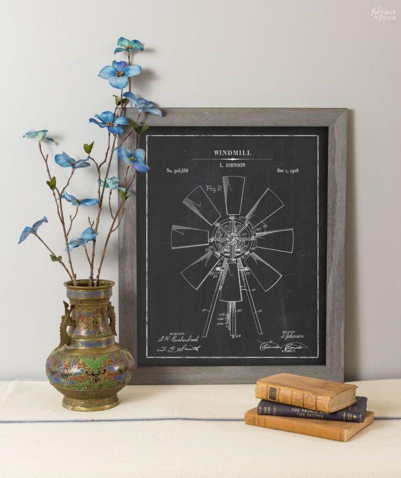 Windmill patent art in chalkboard background