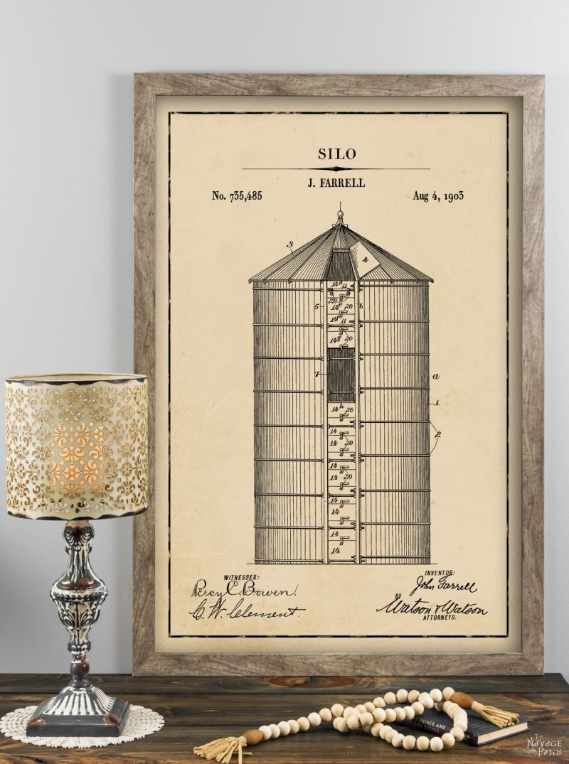 Silo patent art in aged paper background