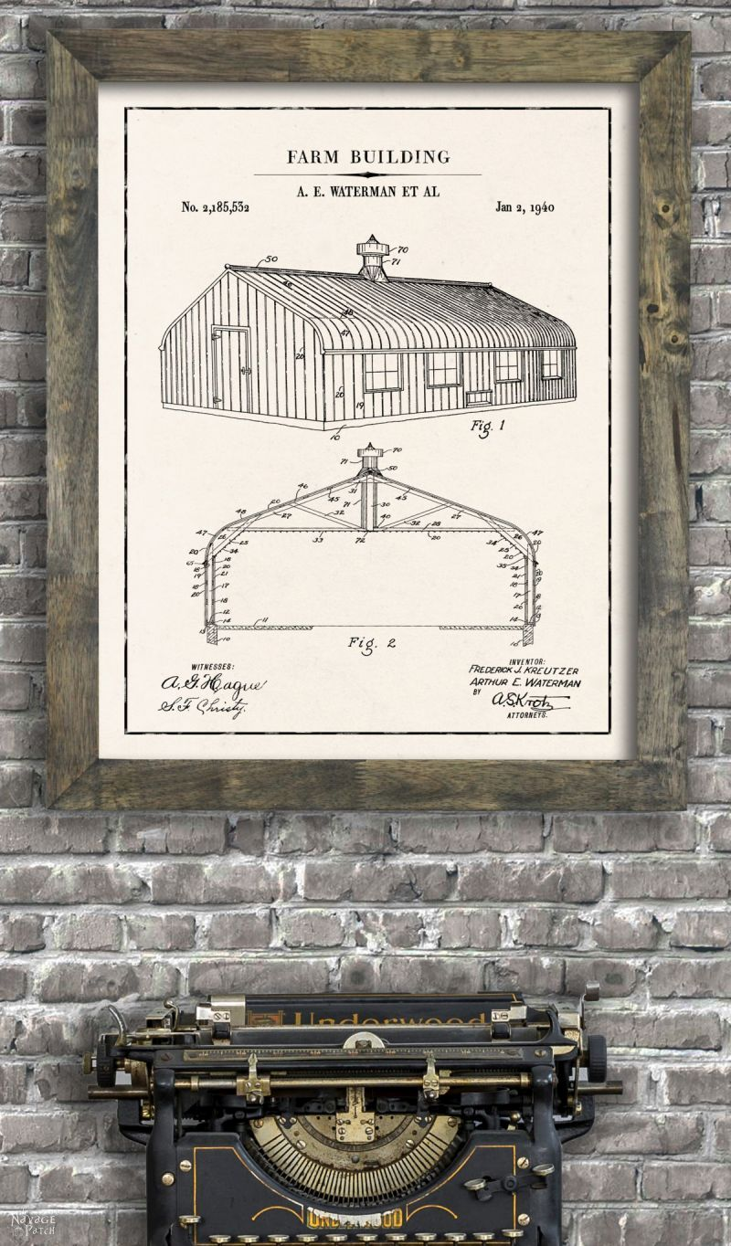 Farm building farmhouse patent art in ivory color paper background