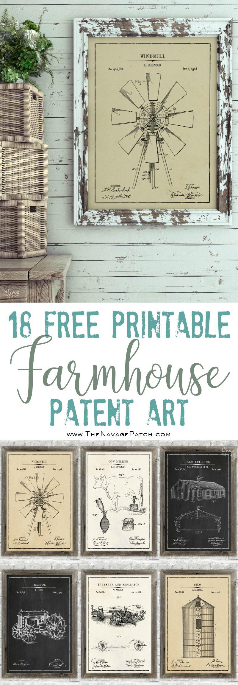 Farmhouse Patent Art (and Surprise Bonus Printables) pinterest image