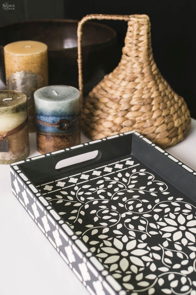 Faux Bone Inlay Tray {Bone Inlay Stenciled Tray} | DIY Painted Furniture | How to make stencils with Cricut | DIY furniture makeover with Indian bone inlay stencil | How to resize a store bought stencil with your Cricut or Silhouette machine| Indian bone inlay stencil | #DIY #PaintedFurniture #knockoff #Bohemian | TheNavagePatch.com