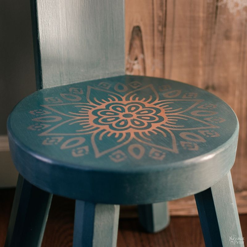Vintage Step Stool Makeover with 6 Free Mandala Stencil Cut Files | DIY Painted Furniture | How to make stencils with Cricut | DIY vintage step stool makeover with chalk paint and mandala stencil | Easy and budget friendly DIY Furniture Makeover | Bohemian style step stool makeover | Free Cricut Cut Files | Free Stencil Cut Files | #DIY #PaintedFurniture #FreePrintable #MandalaStencil #Bohemian | TheNavagePatch.com