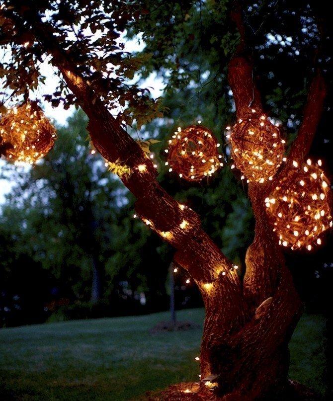DIY grapevine ball lights