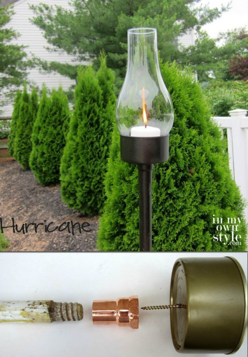 outdoor candle lantern made from a tune fish can