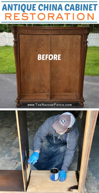 Antique China Cabinet Restoration | How to make glass cabinet doors | DIY cabinet doors | How to add lights to cabinets | How to use gel stain | How to build glass doors | General Finishes Gel Stain | How to restore antique furniture | Antique furniture restoration | Before & After | #TheNavagePatch #DIY #GelStain #Antiquefurniture #upcycling #restoration #furnituremakeover #glasscabinets #furnituremakeover | TheNavagePatch.com