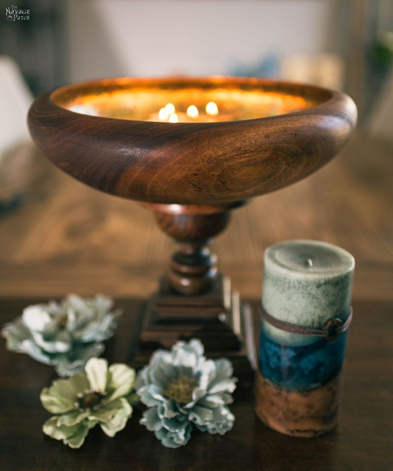 Gilded Bowl Centerpiece | DIY Centerpieces for home | Centerpiece ideas for tables | Floating candle centerpiece bowl | DIY crackled gilding | How to gild | Inexpensive DIY centerpieces | Table centerpieces | Upcycled spindle | Repurposed spindle | Spindle crafts | #TheNavagePatch #DIY #DIYHomedecor #Tablescapes #Centerpieces #Upcycling #Repurposed | TheNavagePatch.com