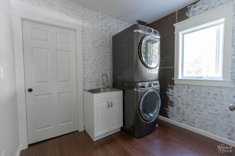 Laundry Room Update | Laundry room renovation | How to turn your laundry closet to a laundry room | Cabinet design for a small laundry room | Best flooring for laundry rooms | Magnetic dryer vent | Kichler lights | #TheNavagePatch #DIY #LaundryRoom #Renovation #RoomMakeover | TheNavagePatch.com