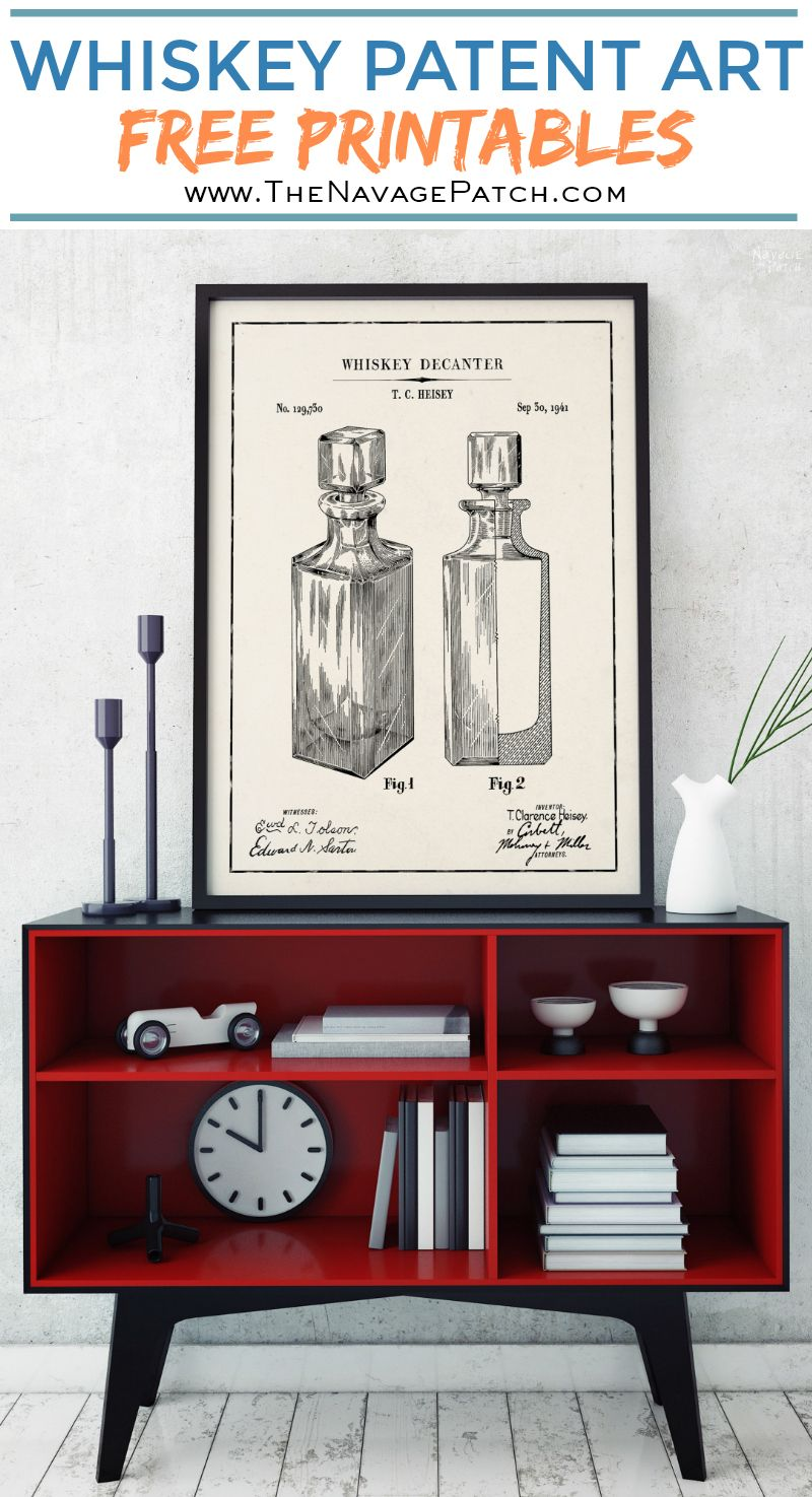 Whiskey Patent Art Printables   Vintage Patent Art Free Printables  Free Vintage Blueprints and patent drawings   Free DIY gift   Free Vintage Beer and Whiskey Patent Posters   Free Vintage Blueprint and Diagrams   Free ready-to-print Gallery Wall for Patent Art Lovers   #TheNavagePatch #FreePrintable #PatentArt #VintagePrintable #Blueprint #FreeArt #GalleryWall   TheNavagePatch.com