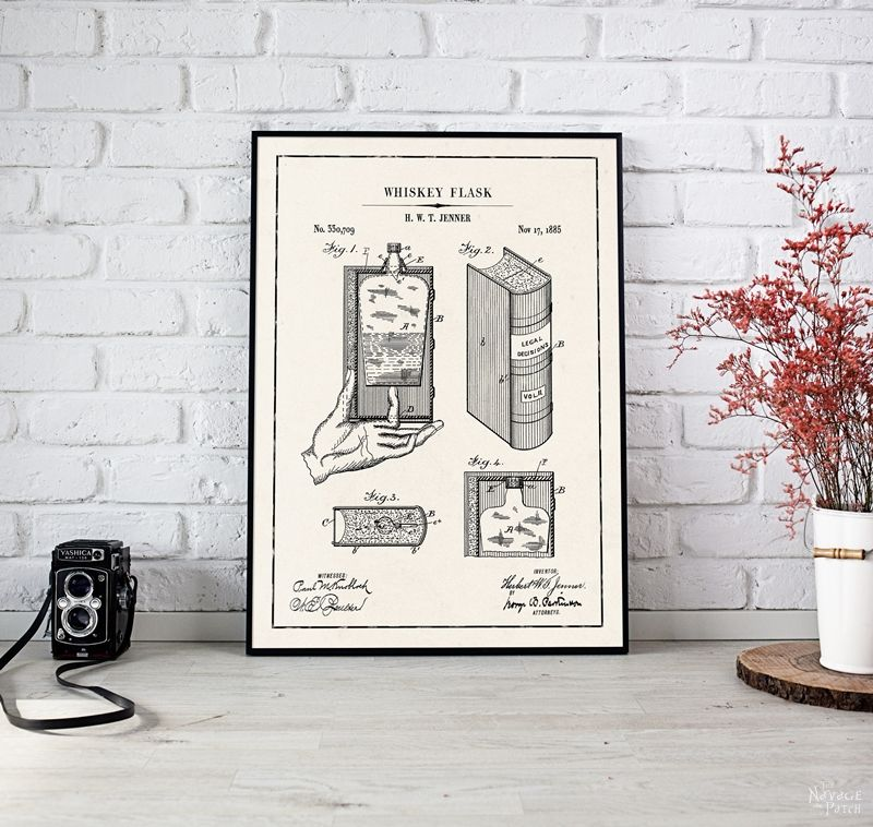 Beer and Whiskey Patent Art Printables   Vintage Patent Art Free Printables  Free Vintage Blueprints and patent drawings   Free DIY gift   Free Vintage Beer and Whiskey Patent Posters   Free Vintage Blueprint and Diagrams   Free ready-to-print Gallery Wall for Patent Art Lovers   #TheNavagePatch #FreePrintable #PatentArt #VintagePrintable #Blueprint #FreeArt #GalleryWall   TheNavagePatch.com