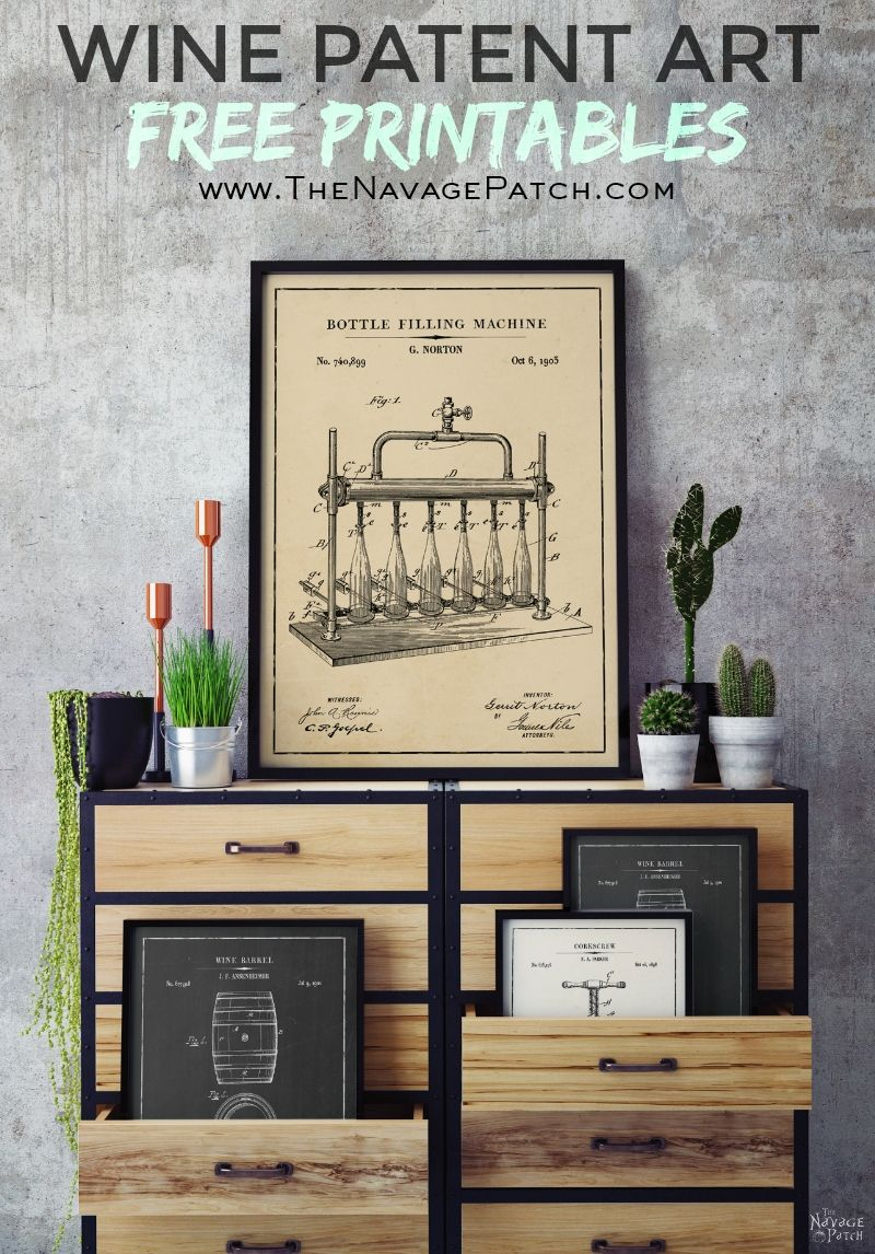 Free Wine Patent Art Printables | Vintage Patent Art Free Printables| Free Vintage Blueprints and patent drawings | Free DIY gift | Free Vintage Wine Patent Posters | Free Vintage Blueprint and Diagrams | Free ready-to-print Gallery Wall for Wine Lovers | #TheNavagePatch #FreePrintable #PatentArt #VintagePrintable #Blueprint #FreeArt #GalleryWall | TheNavagePatch.com