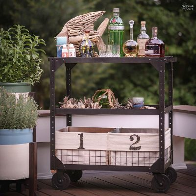 Industrial utility cart makeover | Upcycled industrial cart | How to easily clean rusty and grimy nuts and bolts | The best paint stripper | The safest paint stripper | How to remove paint from old furniture | How to easily strip paint | DIY industrial console cart | Upcycled vintage cart console | #TheNavagePatch #DIY #Industrial #industrialfurniture #DIYfurniture #coastal #farmhousedecor #furnituremakeover #paintedfurniture #farmhousestyle #upcycled #repurposed | TheNavagePatch.com