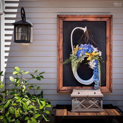 DIY outdoor magnetic chalkboard | DIY farmhouse style frame | How to frame oversized art | How to make a farmhouse frame | DIY rustic frame | #TheNavagePatch #DIY #chalkboard #farmhouse #industrialdecor #easydiy #homedecor #DIYfurniture #outdoors #HowTo #Farmhousestyle | TheNavagePatch.com