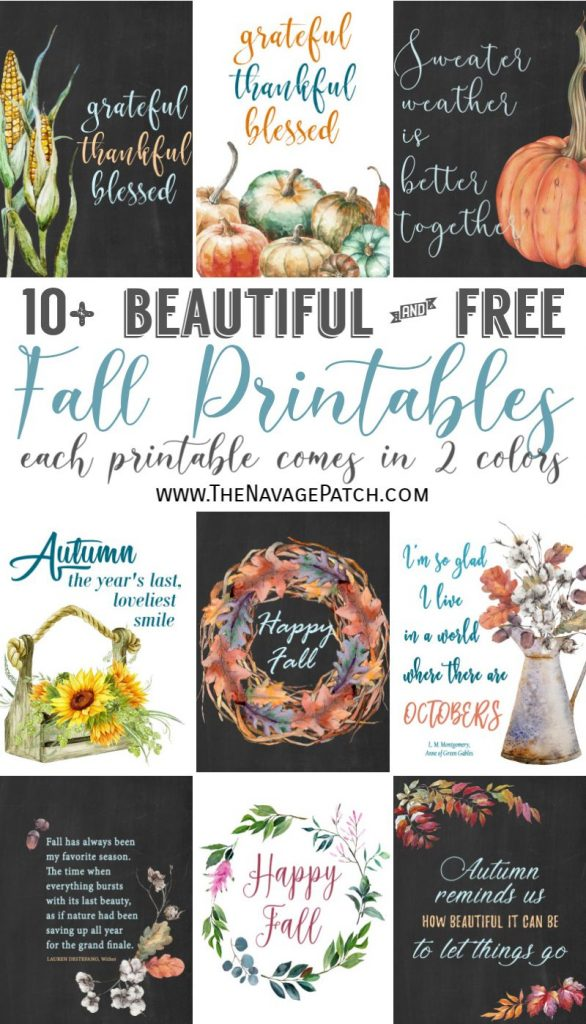 Beautiful Free Fall Printables by TheNavagePatch.com