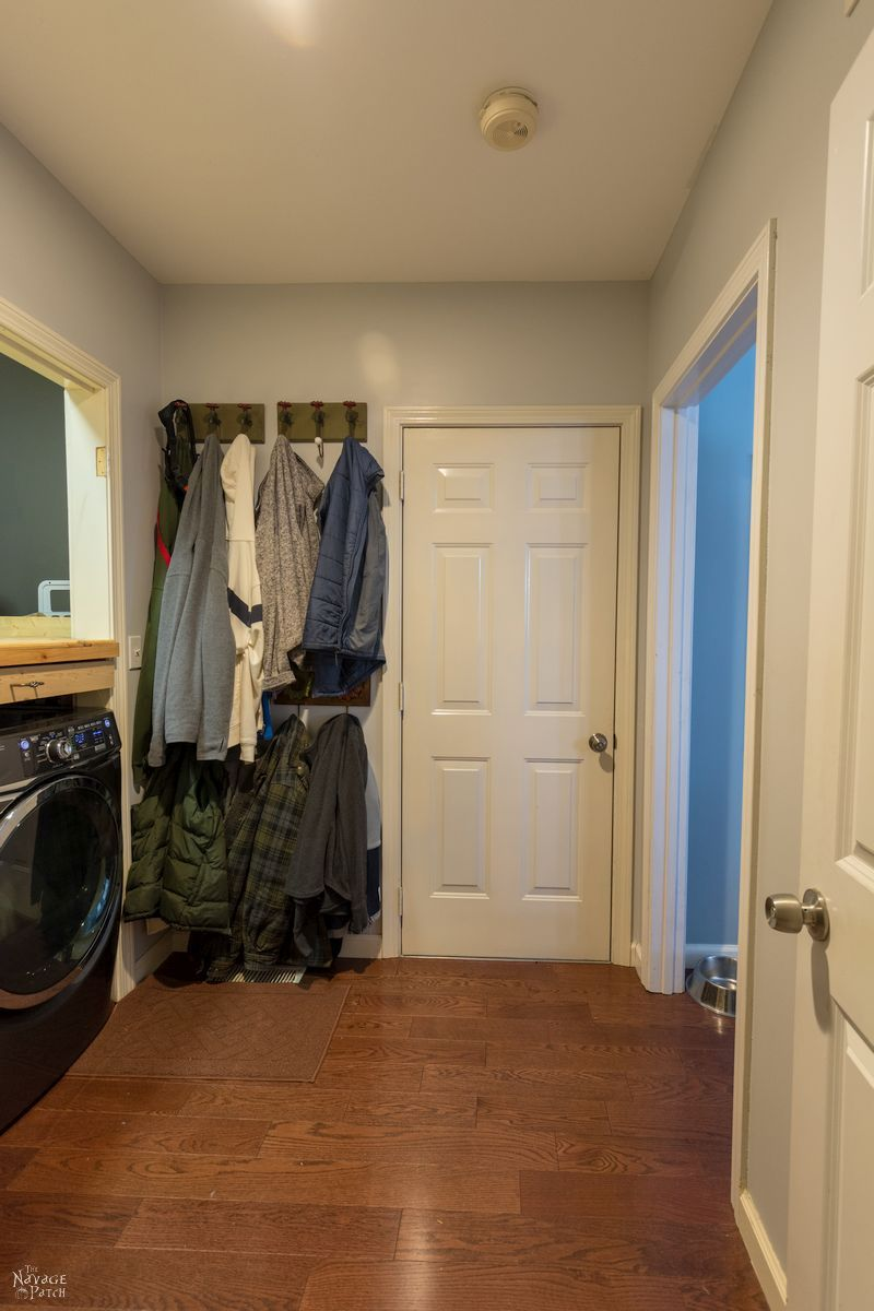 Laundry Room Makeover Reveal | Small laundry room ideas on a budget | Modern farmhouse style laundry room ideas | Laundry room combined with mudroom | Small space laundry room storage ideas | DIY projects list for a small laundry room makeover | Laundry Room cabinets with Dog Feeding Station | How to organize a laundry room | Free Laundry room printables | #TheNavagePatch #diy #Laundry #organization #beforeafter #HowTo #remodel #diyfurniture #makeover | TheNavagePatch.com